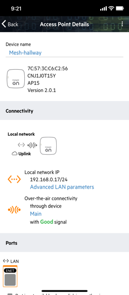 app screen with access point connectivity details
