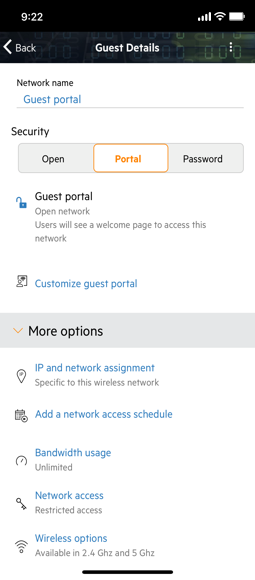 app screen with guest portal details