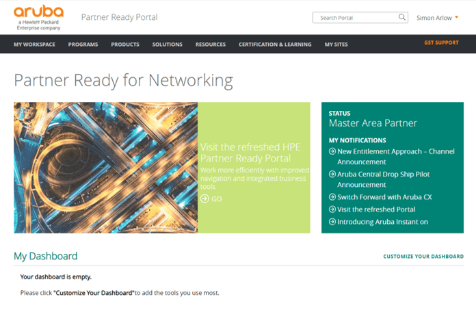 Screen of the Partner Ready For Networking portal